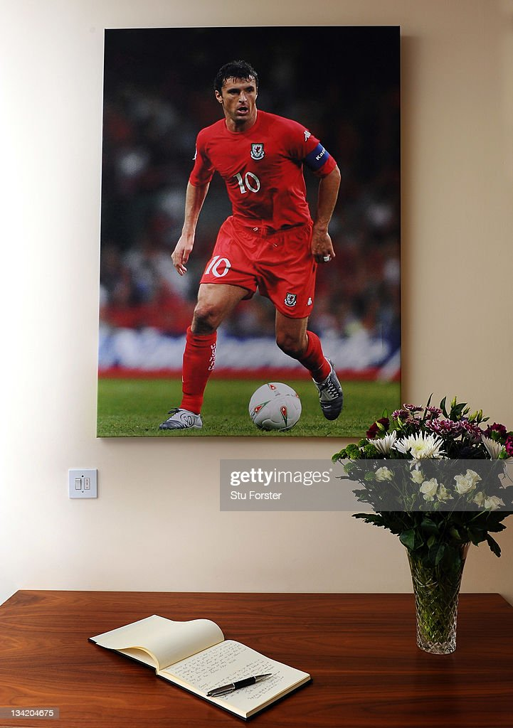 The book of condolences in memory of Gary Speed is left out at the Football of Wales offices on November 28, 2011 in Cardiff, Wales. Wales Manager Gary Speed, 42, was found dead on November 27, 2011 in Cheshire, England.