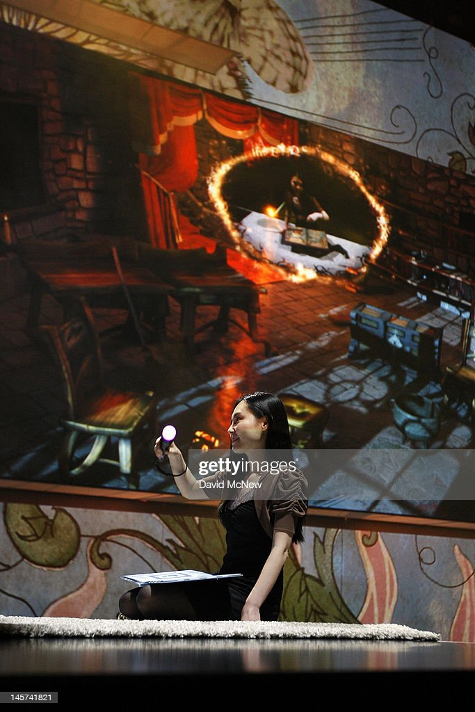 The Book of Spells game, a virtual reality Harry Potter spellbook created by J.K. Rowling is demonstrated as it is introduced at the Sony press conference on the eve of the Electronic Entertainment Expo (E3) on June 4, 2012 in Los Angeles, California. E3 is the most important yearly trade show the $78.5 billion videogame industry.