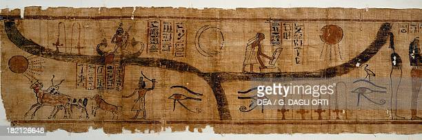 The Book of the Dead imagery detail from the mythological papyrus of the lady of Meshsekeb 17cm x 177cm from Thebes Egyptian Civilisation Third...