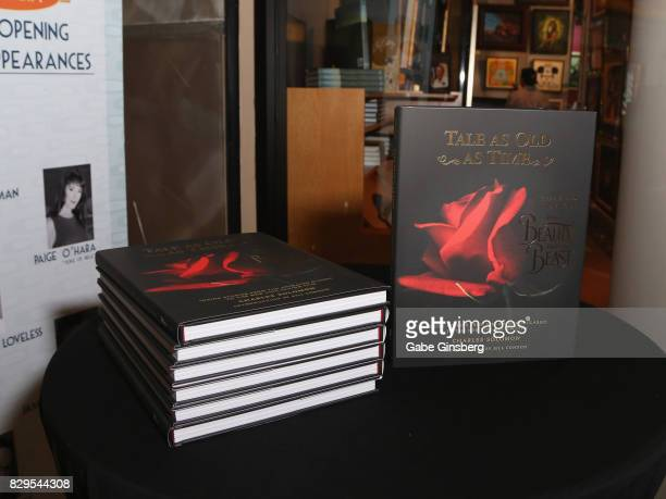 The book 'Tale As Old As Time' by Charles Solomon is displayed during a preview event at the Magical Memories Fine Art Gallery inside The Forum Shops...