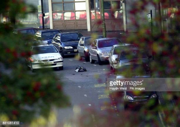The boot lid of a car in the road at Smallbrook Queensway in Birmingham City Centre which was blown off by the detonator of a suspected dissident IRA...