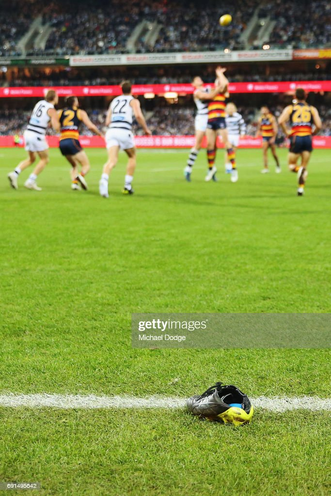 The boot of Mitch Duncan of the Cats is seen during the round 11 AFL match between the Geelong Cats and the Adelaide Crows at Simonds Stadium on June 2, 2017 in Geelong, Australia.