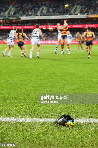 The boot of Mitch Duncan of the Cats is seen during the round 11 AFL match between the Geelong Cats and the Adelaide Crows at Simonds Stadium on June...