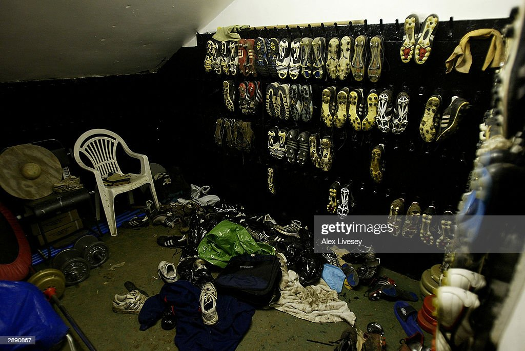 The boot room at the McCain Stadium the home ground of Scarborough FC on January 21 2003 in Scarborough England Scarborough will host Premiership...