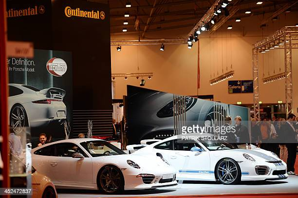 The booth of German maker of tyres and car parts Continental is seen at the Essen Motor Show on November 29 2013 at the fair grounds in Essen western...