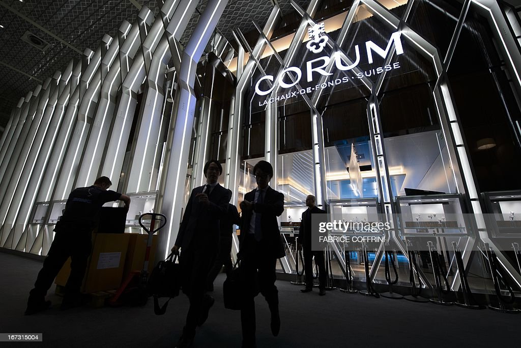 The booth of Swiss watchmaker Corum is seen during the press preview day of watch fair Baselworld on April 24, 2013 in Basel. Swiss watches Corum were bought by Chinese group China Haidian, according to a statement released by the Swiss company. The amount of the transaction, announced on the eve of the opening of the largest international watch fair Baselworld, was not disclosed. This is the first acquisition in the Swiss haute horlogerie by a Chinese group.