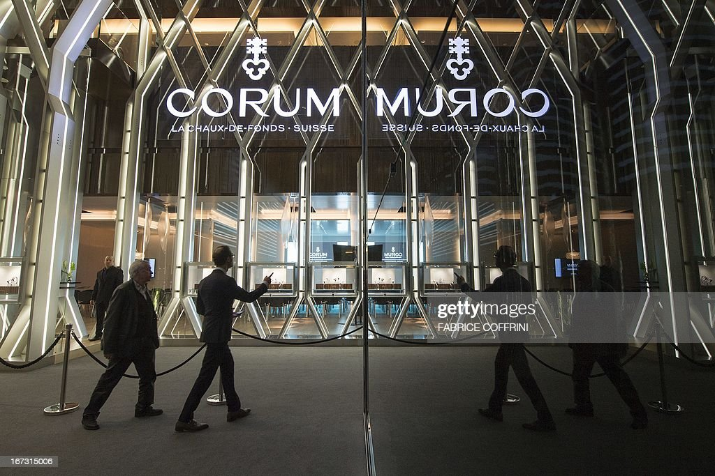 The booth of Swiss watchmaker Corum is seen during the press preview day of watch fair Baselworld on April 23, 2013 in Basel. Swiss watches Corum were bought by Chinese group China Haidian, according to a statement released by the Swiss company. The amount of the transaction, announced on the eve of the opening of the largest international watch fair Baselworld, was not disclosed. This is the first acquisition in the Swiss haute horlogerie by a Chinese group.