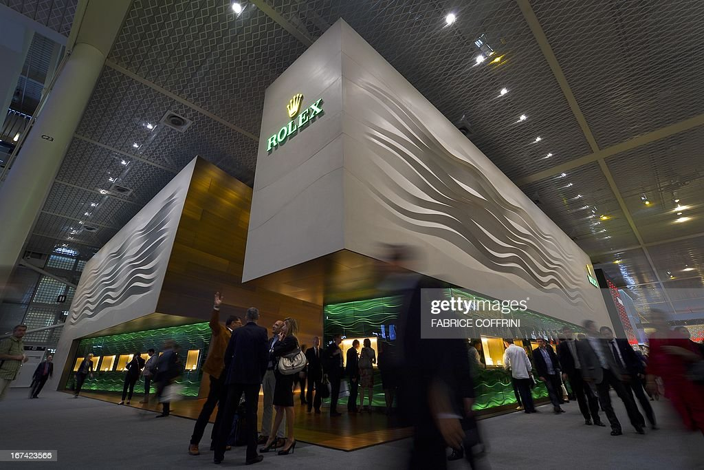 The booth of Swiss watchmaker Rolex is seen on the opening day of fair watch fair Baselworld on April 25, 2013 in Basel. The world's biggest watch fair Baselworld, which this year will host 1,460 exhibitors, including leading brands like Rolex, Patek Philippe and Omega, and is expected to draw some 100,000 visitors. AFP PHOTO / FABRICE COFFRINI