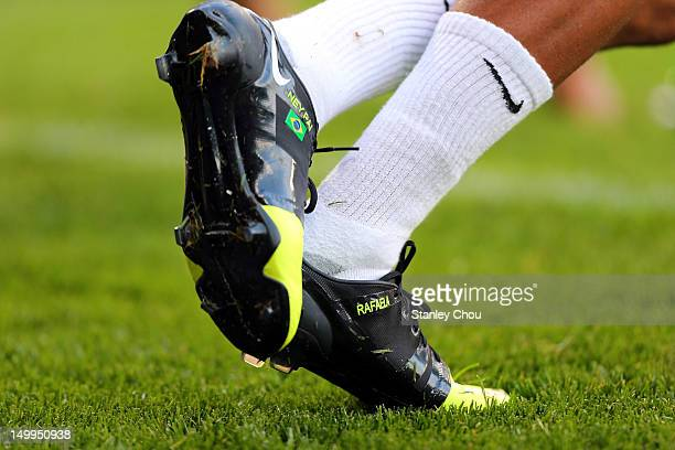 The boots and feet of Neymar during warm up during the Men's Football Semi Final match between Korea and Brazil on Day 11 of the London 2012 Olympic...