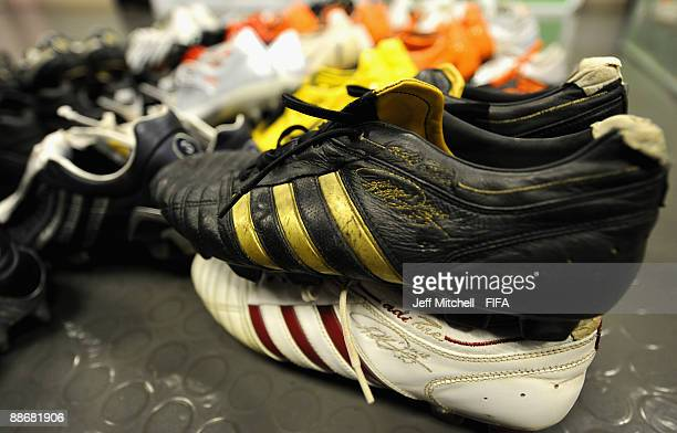 The boots of Brazil striker Kaka sit in the dressing room before the FIFA Confederations Cup Semi Final match beween Brazil and South Africa at Ellis...