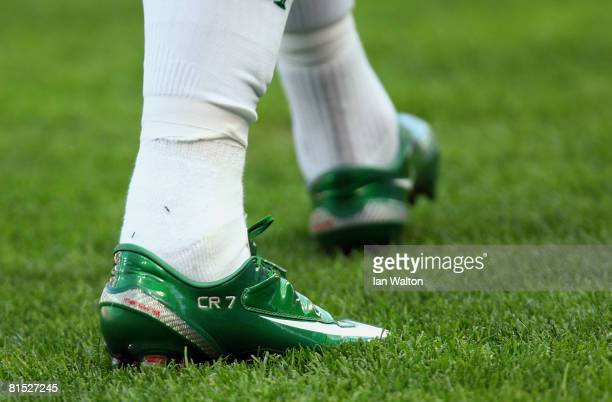 The boots of Cristiano Ronaldo of Portugal are pictured during the UEFA EURO 2008 Group A match between Czech Republic and Portugal at Stade de...