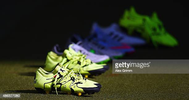 The boots of Emre Can and team mates are seen prior to a Germany training session at CommerzbankArena on September 3 2015 in Frankfurt am Main Germany