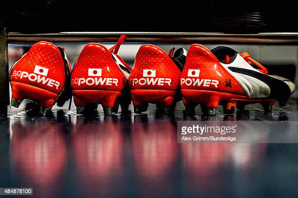 The boots of Makoto Hasebe of Frankfurt are seen in the team's changing room prior to the Bundesliga match between Eintracht Frankfurt and FC...
