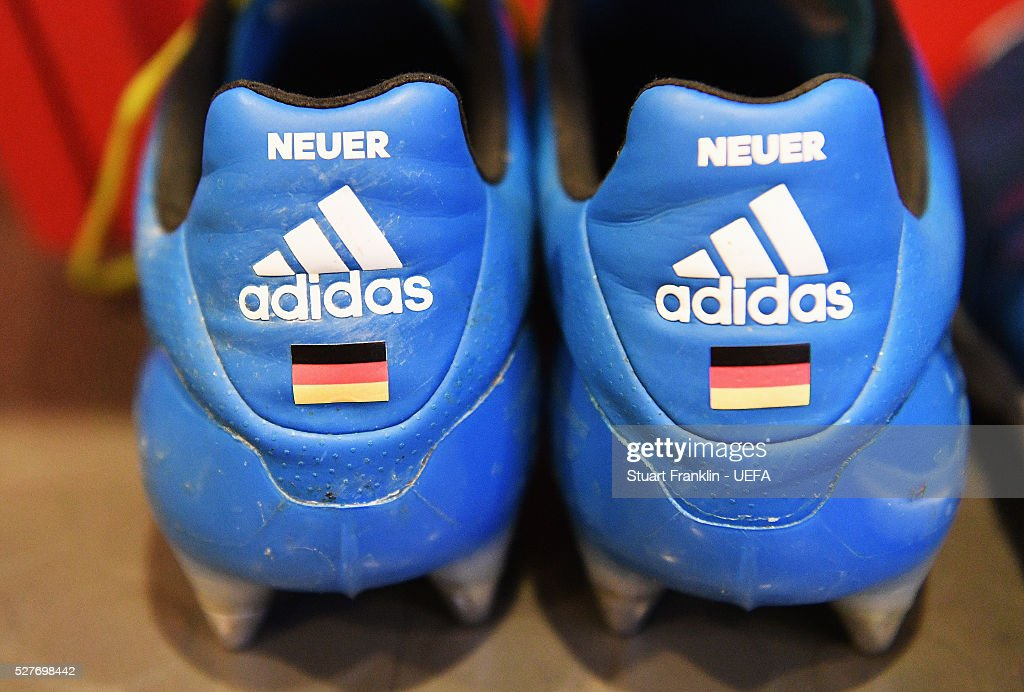 The boots of <a gi-track='captionPersonalityLinkClicked' href=/galleries/search?phrase=Manuel+Neuer&family=editorial&specificpeople=764621 ng-click='$event.stopPropagation()'>Manuel Neuer</a> of Muenchen before the UEFA Champions League Semi Final second leg match between FC Bayern Muenchen and Club Atletico de Madrid at the Allianz Arena on May 03, 2016 in Munich, Bavaria.