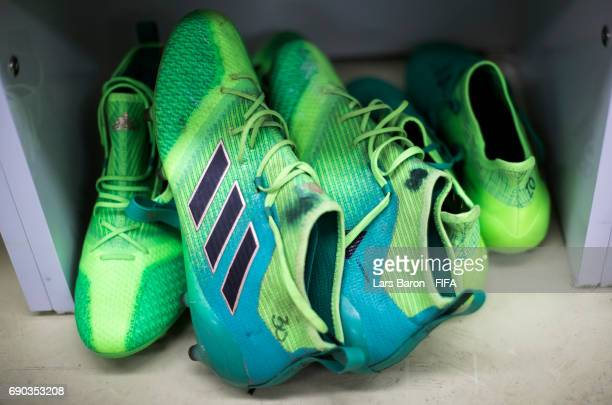 The boots of Rodrigo Bentancur of Uruguay are seen in the Ururguay dressing room prior to the FIFA U20 World Cup Korea Republic 2017 Round of 16...