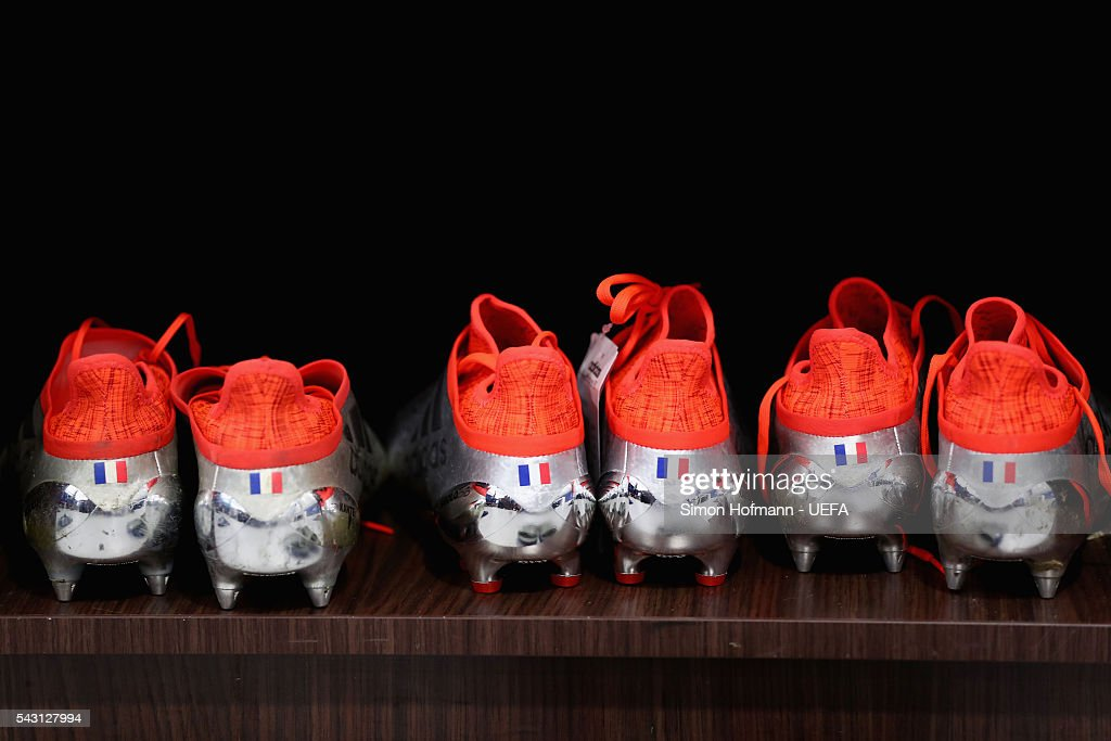 The boots worn by a France player are seen in the dressing room prior to the UEFA EURO 2016 round of 16 match between France and Republic of Ireland at Stade des Lumieres on June 26, 2016 in Lyon, France.