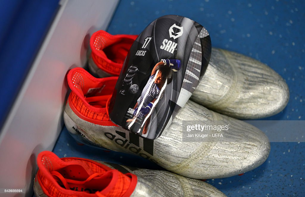 The boots worn by Nani of Portugal are seen in the dressing room prior to the UEFA EURO 2016 quarter final match between Poland and Portugal at Stade Velodrome on June 30, 2016 in Marseille, France.
