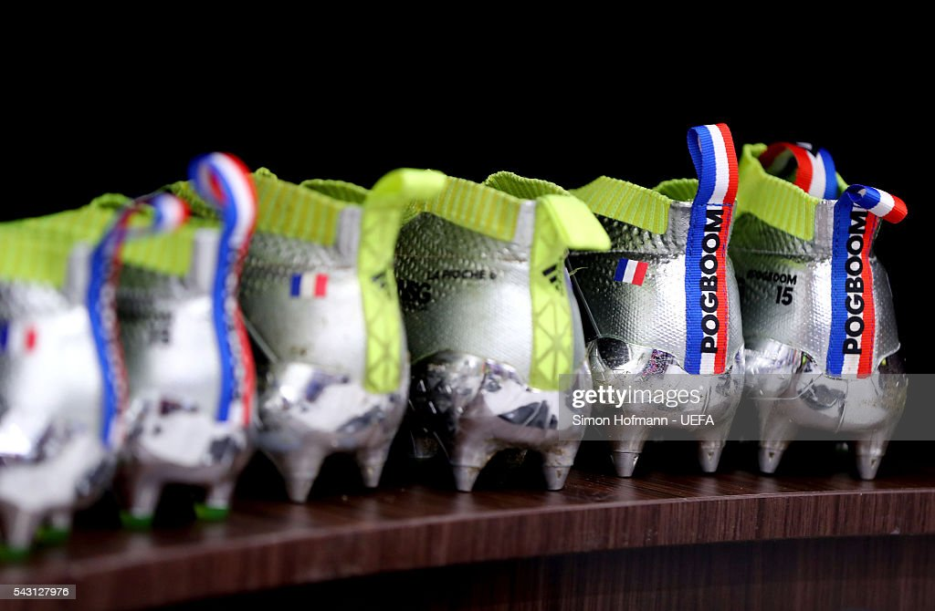 The boots worn by Paul Pogba of France are seen in the dressing room prior to the UEFA EURO 2016 round of 16 match between France and Republic of Ireland at Stade des Lumieres on June 26, 2016 in Lyon, France.