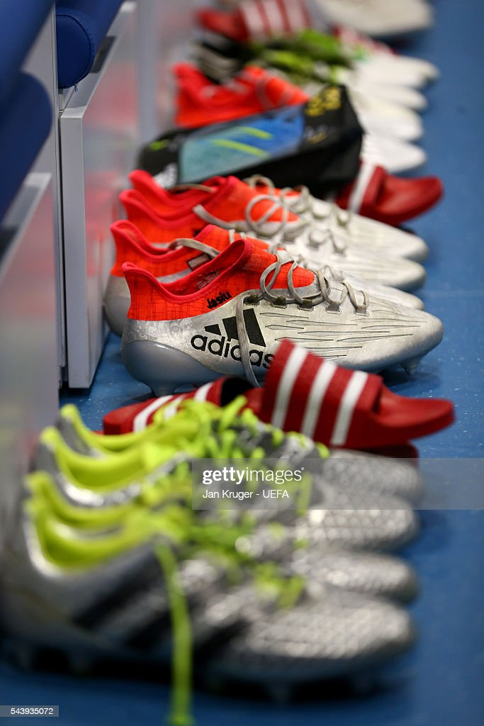 The boots worn by Poland players are seen in the dressing room prior to the UEFA EURO 2016 quarter final match between Poland and Portugal at Stade Velodrome on June 30, 2016 in Marseille, France.