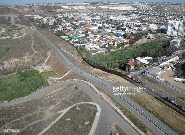 CONTENT] The border between the United States and Mexico Border Field State Park in the lowerleft Tijuana Mexico upperright I used a kite to fly the...