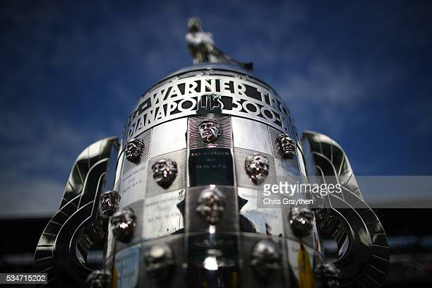 The BorgWarner trophy is seen prior to practice on Carb Day at Indianapolis Motorspeedway on May 27 2016 in Indianapolis Indiana