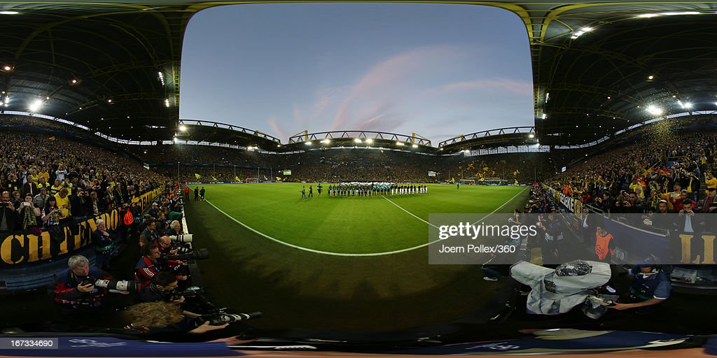 The Borussia Dortmund and Real Madrid teams line up prior to the UEFA Champions League semi final first leg match between Borussia Dortmund and Real Madrid at Signal Iduna Park on April 24, 2013 in Dortmund, Germany.