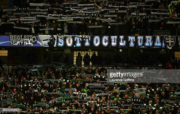 The Borussia Monchengladbach fans show their support during the UEFA Champions League Group D match between Manchester City and Borussia...