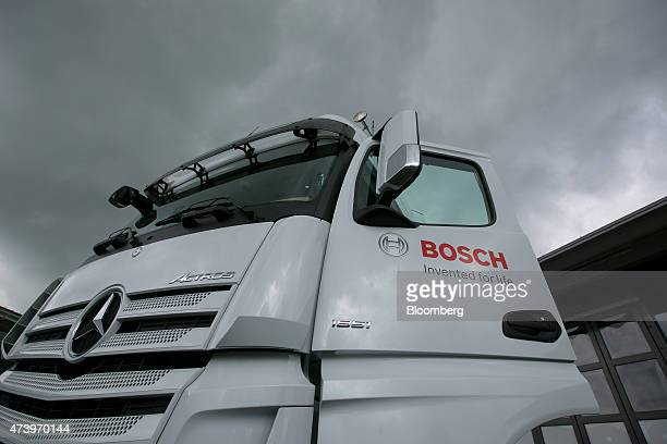 The Bosch logo sits on a MercedesBenz AG truck cabin door at the Robert Bosch GmbH driverless technology press event in Boxberg Germany on Tuesday...