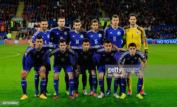 The Bosnia and Herzegovina team before the EURO 2016 Qualifier match between Wales and Bosnia and Herzegovina at Cardiff City Stadium on October 10...