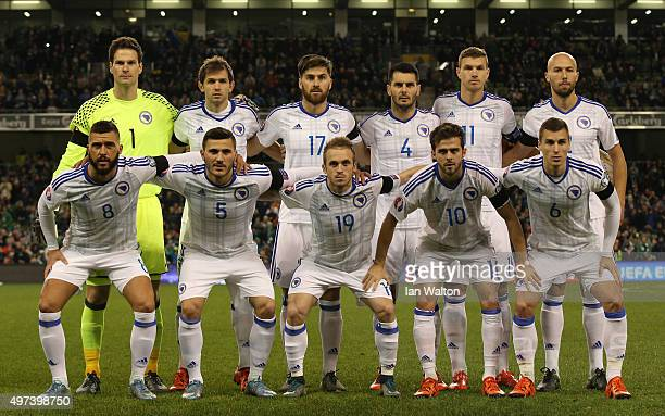 The Bosnia and Herzegovina team pose for the cameras prior to kickoff during the UEFA EURO 2016 Qualifier play off second leg match between Republic...