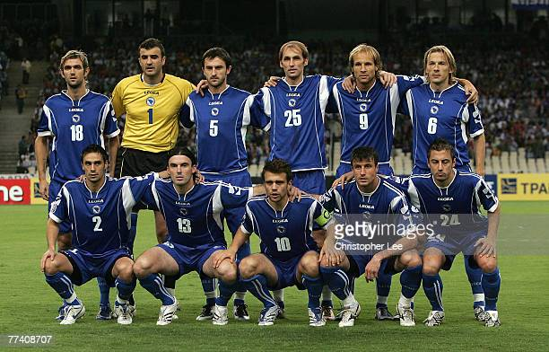 The Bosnia Herzegovina team to face Greece during the Euro 2008 Group C Qualifying match between Greece and Bosnia Herzegovina at the Olympic Stadium...