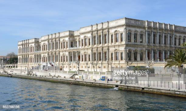 The Bosporus strait in Istanbul The Dolmabahçe Palace on the European bank of Bosphorus on October 14 2014 in Istanbul Turkey