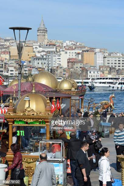 The Bosporus strait in Istanbul View of the Galata Tower on the European bank of Bosphore on October 14 2014 in Istanbul Turkey