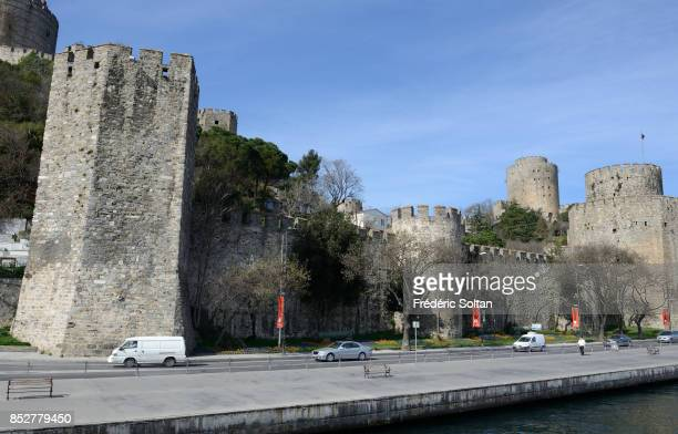 The Bosporus strait in Istanbul View of the medieval fortress on the European bank of Bosphore on October 14 2014 in Istanbul Turkey
