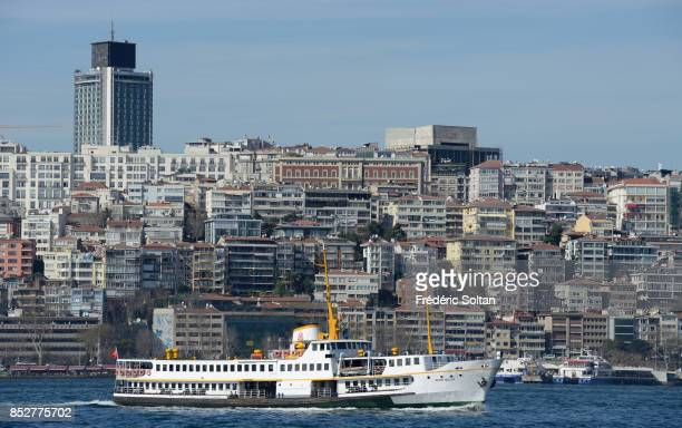 The Bosporus strait in Istanbul View of the new residential districts on the European bank of Bosphore on October 14 2014 in Istanbul Turkey