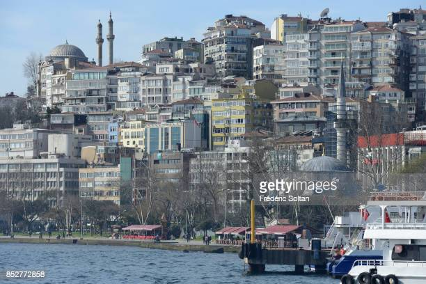 The Bosporus strait in Istanbul View of the Ortaköy Mosque and the new residential districts on the European bank of Bosphore on October 14 2014 in...
