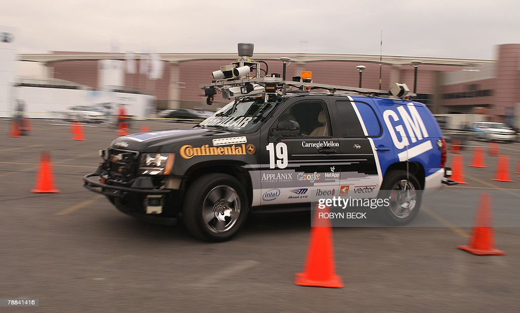 'The Boss' a driverless automobile drives through a short course at the 2008 Consumer Electronics Show in Las Vegas Nevada 08 January 2008 General...