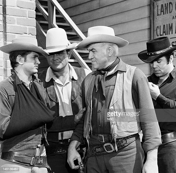 BONANZA 'The Boss' Episode 33 Pictured Michael Landon as Joseph 'Little Joe' Cartwright Dan Blocker as Eric 'Hoss' Cartwright Lorne Greene as Ben...