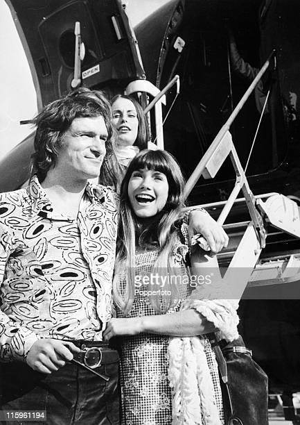 The boss of the Playboy empire Hugh Hefner and his girlfriend Barbi Benton at Heathrow Airport London on 26th September 1972