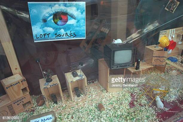 The Bossetti vintners in rue des Archives in Paris have set up a 'Loft Mouse' in their shop window a discreet means of making a mockery of the Loft...
