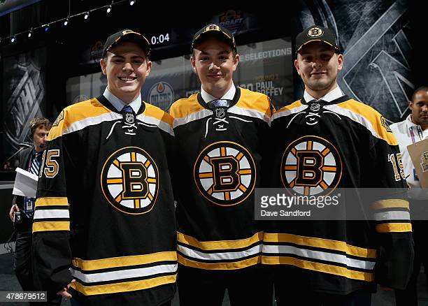 The Boston Bruins 13th overall pick Jakub Zboril 15th overall pick Zachary Senyshyn and 14th overall pick Jake DeBrusk pose together during Round One...