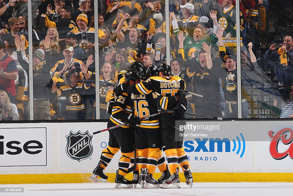 The Boston Bruins against celebrate a goal the Toronto Maple Leafs in Game One of the Eastern Conference Quarterfinals during the 2013 NHL Stanley Cup Playoffs at TD Garden on May 1, 2013 in Boston, Massachusetts.