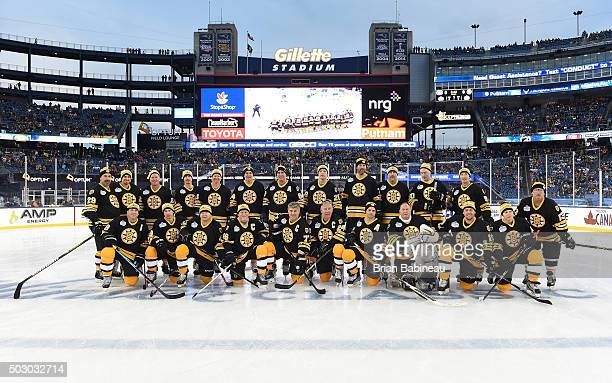 The Boston Bruins Alumni Team poses for a team photo prior to the Alumni Game as part of the 2016 Bridgestone NHL Classic at Gillette Stadium on...