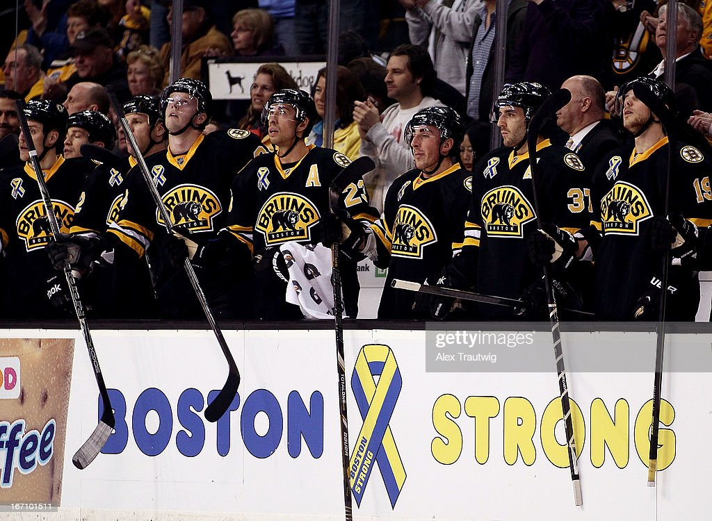 The Boston Bruins bench reacts after a fight against the Pittsburgh Penguins at the TD Garden on April 20, 2013 in Boston, Massachusetts.