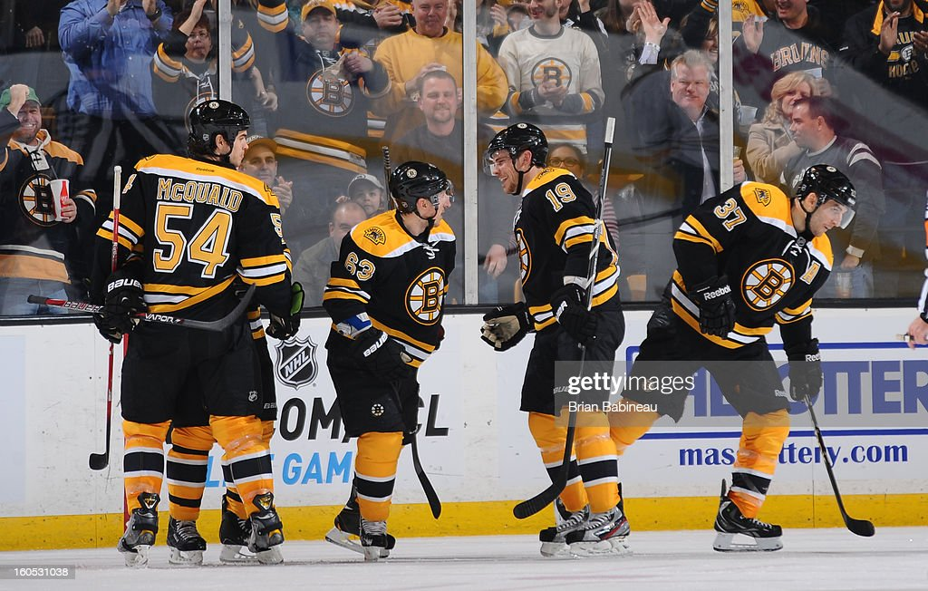 The Boston Bruins celebrate a goal against the Buffalo Sabres at the TD Garden on January 31, 2013 in Boston, Massachusetts.