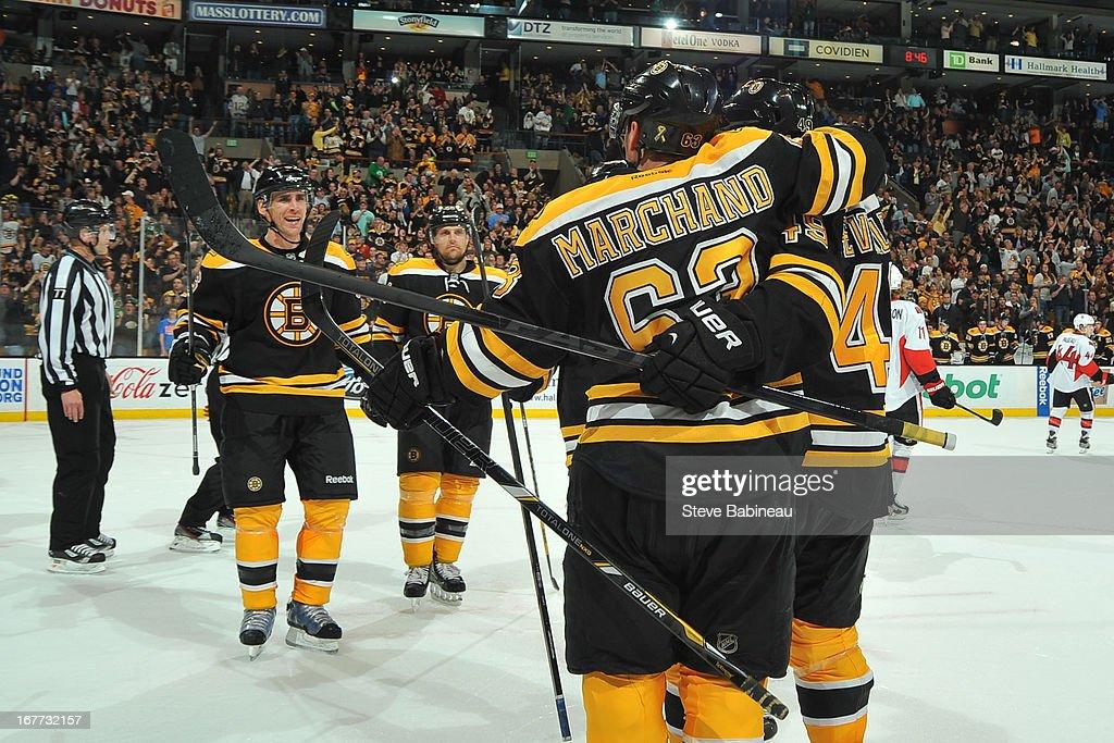 The Boston Bruins celebrate a goal against the Ottawa Senators at the TD Garden on April 28, 2013 in Boston, Massachusetts.