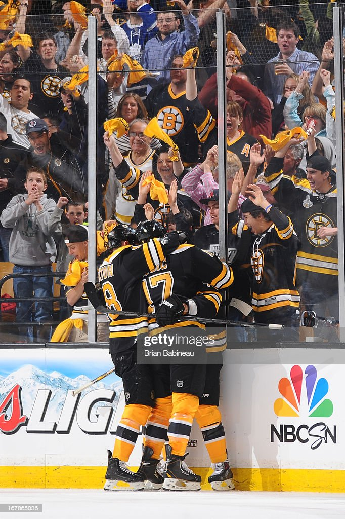 The Boston Bruins celebrate a goal against the Toronto Maple Leafs in Game One of the Eastern Conference Quarterfinals during the 2013 NHL Stanley Cup Playoffs at TD Garden on May 1, 2013 in Boston, Massachusetts.