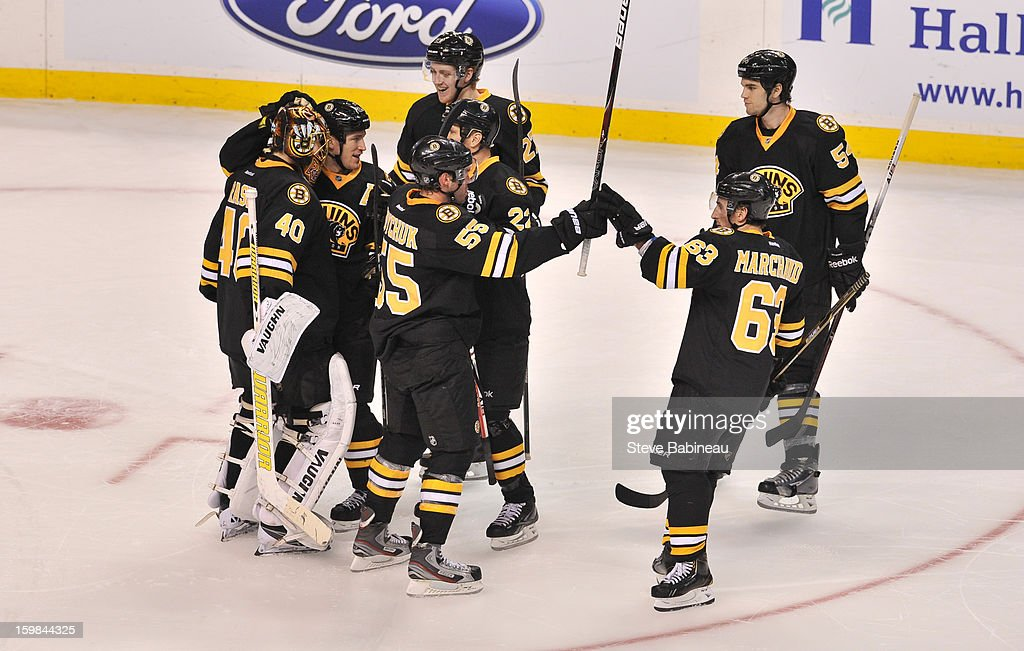 The Boston Bruins celebrate a shoot out win against the Winnipeg Jets at the TD Garden on January 21, 2013 in Boston, Massachusetts.