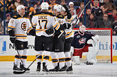 The Boston Bruins celebrate after scoring a goal during the third period of a game against the Columbus Blue Jackets on November 21 2014 at...