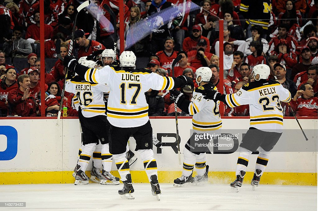 The Boston Bruins celebrate after <a gi-track='captionPersonalityLinkClicked' href=/galleries/search?phrase=Tyler+Seguin&family=editorial&specificpeople=6698848 ng-click='$event.stopPropagation()'>Tyler Seguin</a> #19 scored the game winning goal in overtime against the Washington Capitals in Game Six of the Eastern Conference Quarterfinals during the 2012 NHL Stanley Cup Playoffs at Verizon Center on April 22, 2012 in Washington, DC.